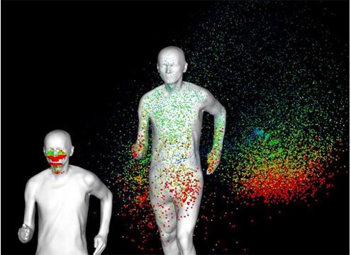 ジョギング中の飛沫飛散シミュレーション