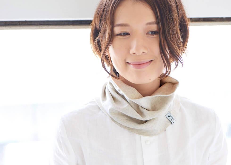 日本製 オーガニックコットン 天竺 ロングターバン ネックウォーマー